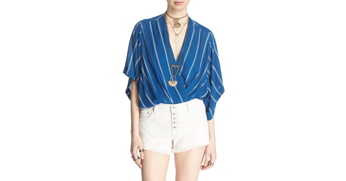 3d1177576 Free People 'sleepy Time' Stripe Kimono Sleeve Top in Blue - Lyst