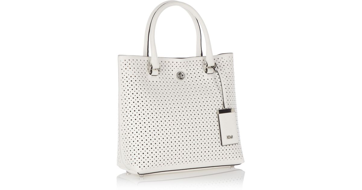 50be5b93d89 Karen Millen Small Perforated Tote Bag in White - Lyst