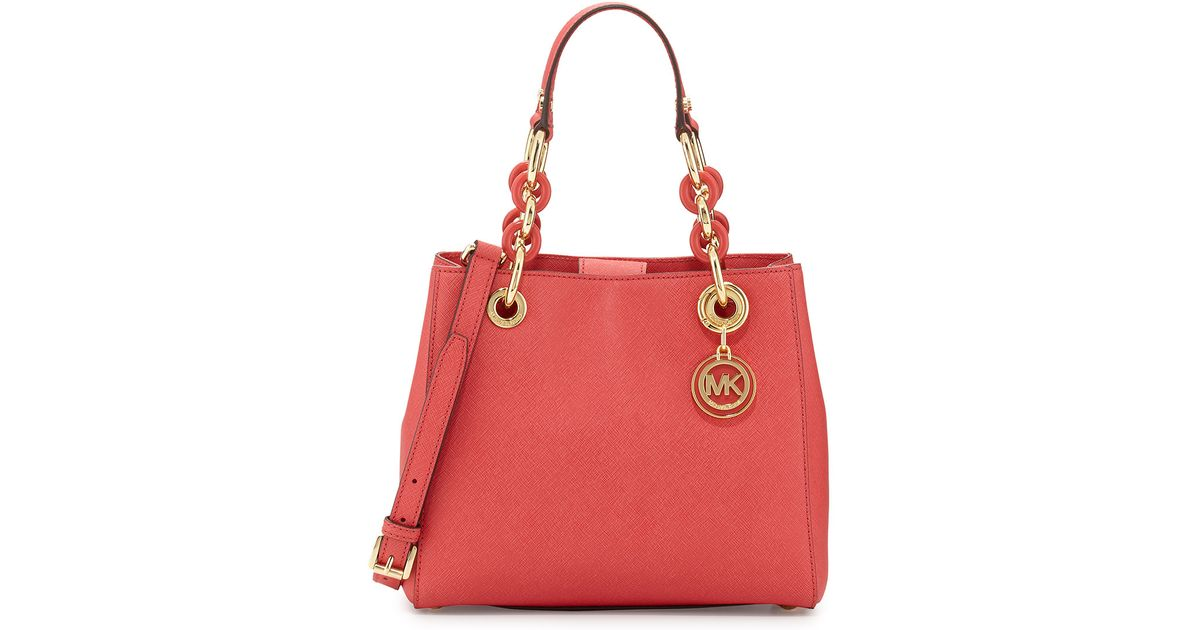 01a602b58907 Lyst - MICHAEL Michael Kors Cynthia Small Satchel Bag in Red