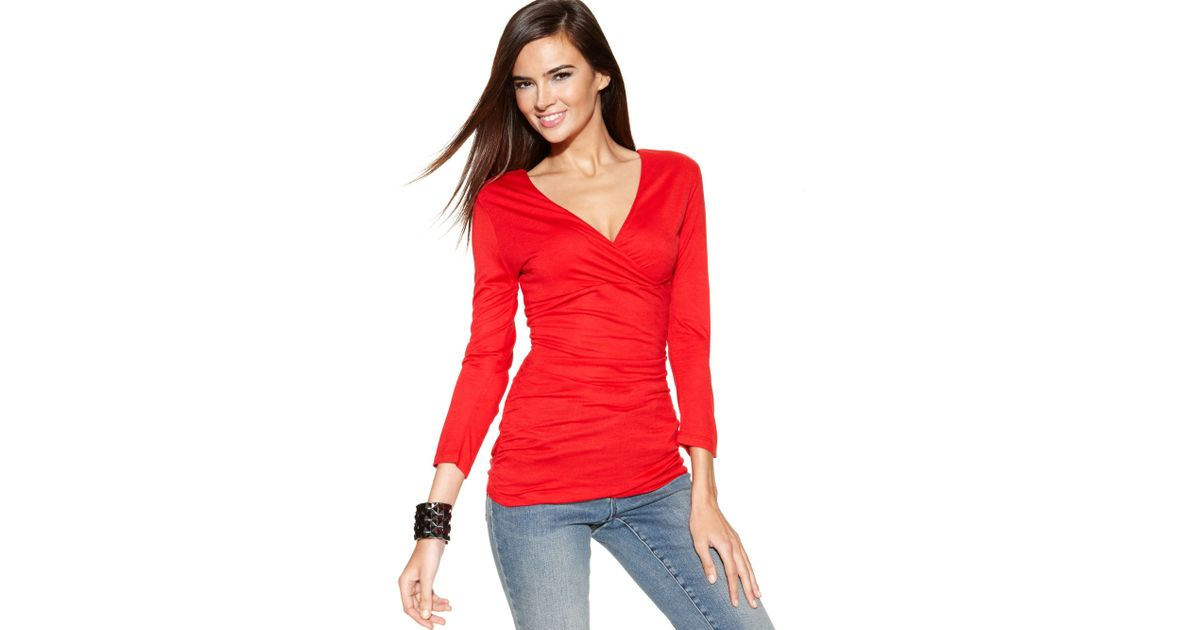 INC International Concepts Womens Surplice Ruched Mesh Top