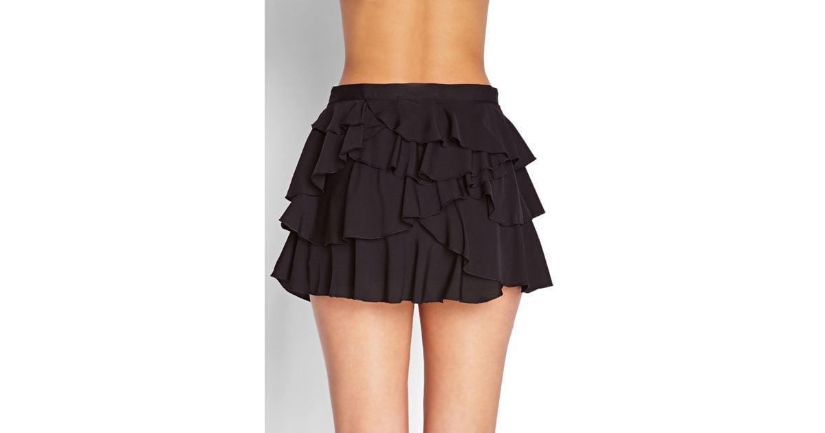 Forever 21 Ruffled Mini Skirt in Black | Lyst