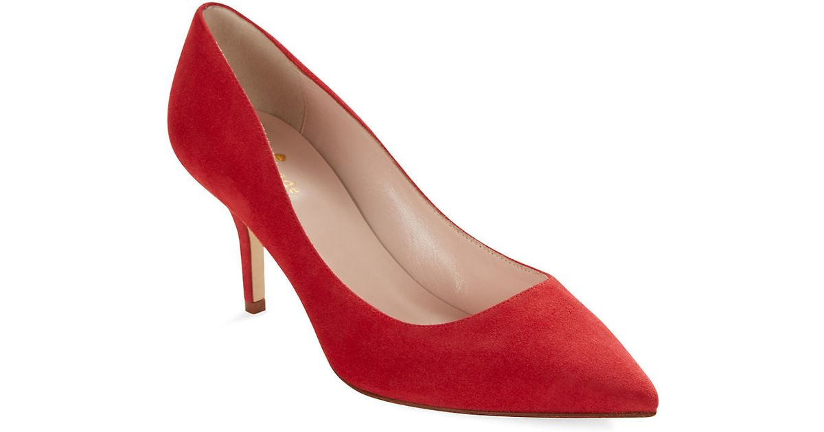 749ace9c4a3c Kate Spade New York Jessa Suede Pumps in Red - Lyst