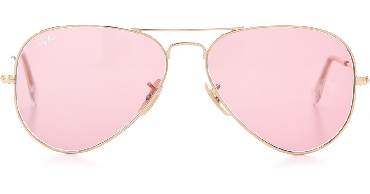 5e63a0c3cdeff0 Ray-Ban Aviator Sunglasses in Pink - Lyst