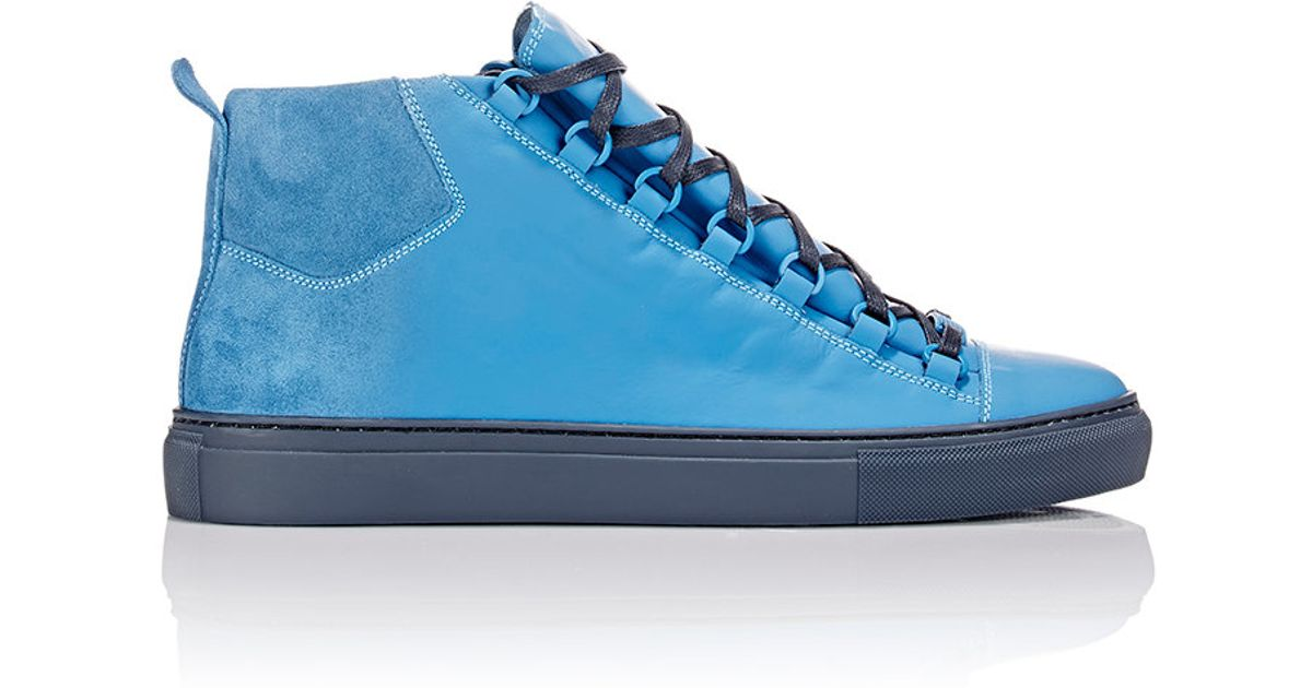 Lyst - Balenciaga Arena Sprayed Suede High-Top Sneakers in Blue for Men db1ae10c8