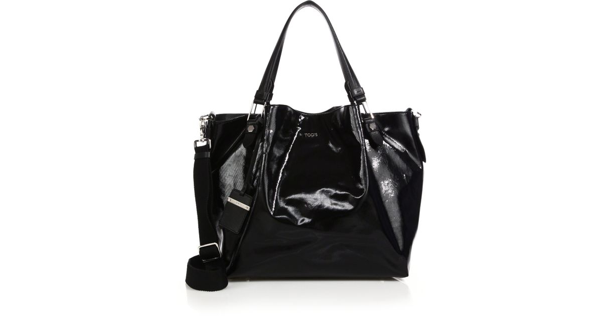 26fe111134eb9 Tod's Flower Small Coated Canvas Tote in Black - Lyst