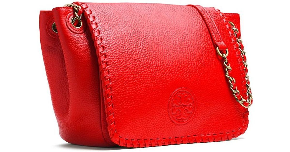 ca51c4e0dcc Lyst - Tory Burch Marion Small Flap Shoulder Bag in Red