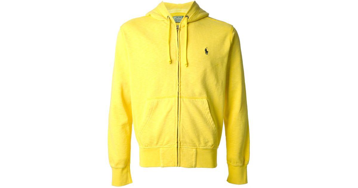 Polo Ralph Lauren Zip Front Hoodie In Yellow For Men Lyst