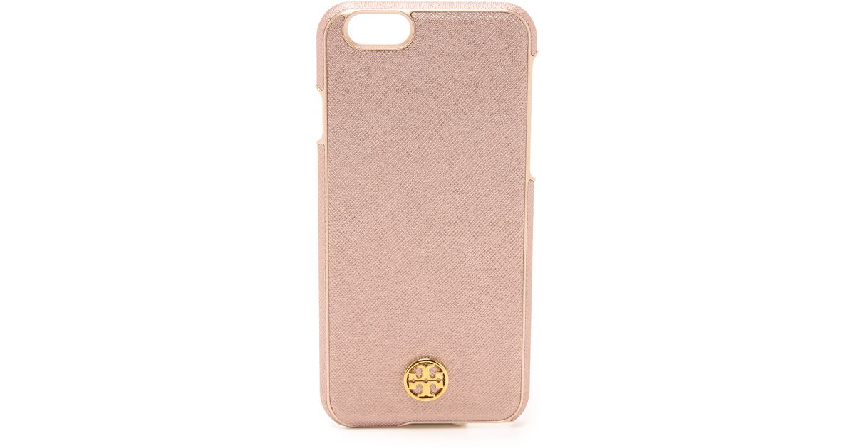 dfcc0e2a2 Lyst - Tory Burch Robinson Hardshell Iphone 6   6s Case - Tiger s Eye in  Pink
