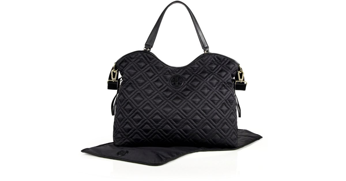 30a1738d3540 Lyst Tory Burch Marion Quilted Nylon Baby Bag In Black