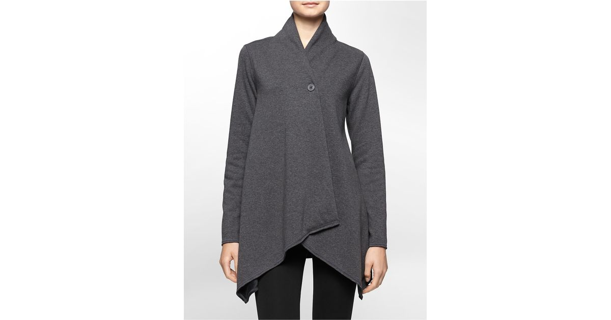 Calvin klein White Label Performance Fleece Wrap Jacket in Gray | Lyst