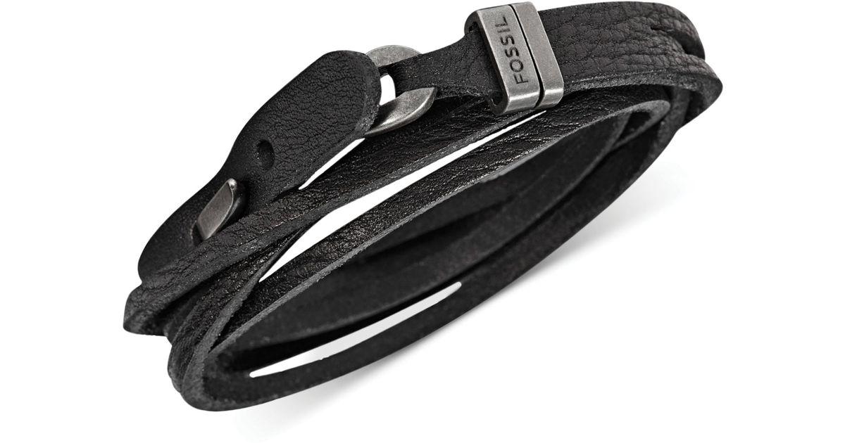 Fossil Mens Double Wrap Black Leather Bracelet for men