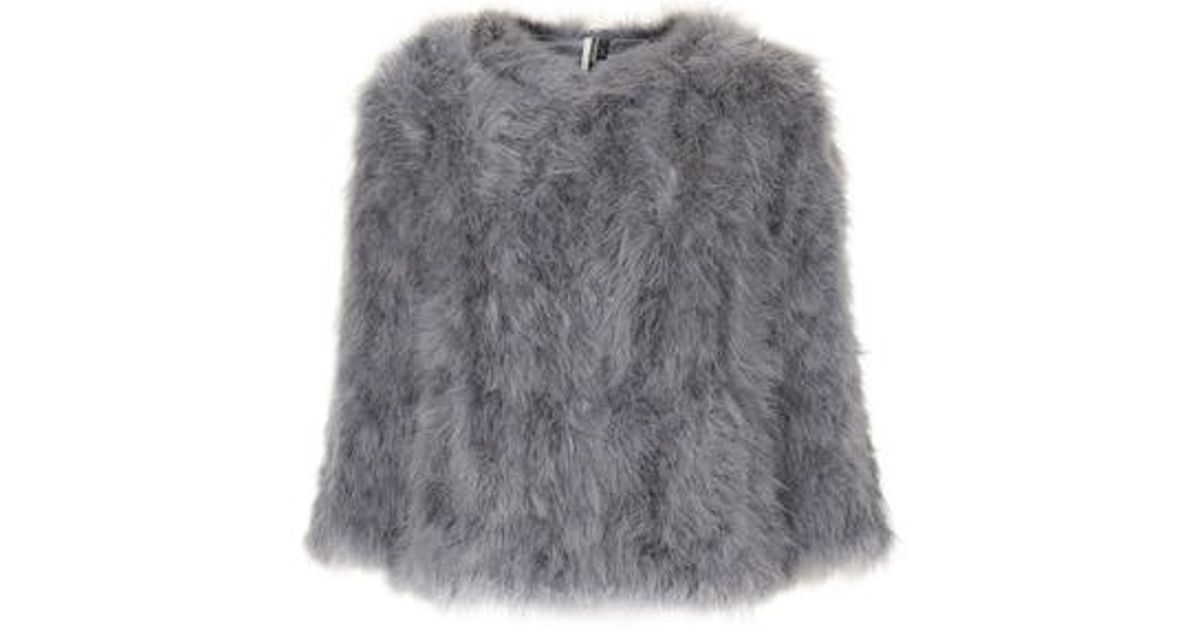 e434d5df93d TOPSHOP Fluffy Feather Marabou Jacket in Gray - Lyst