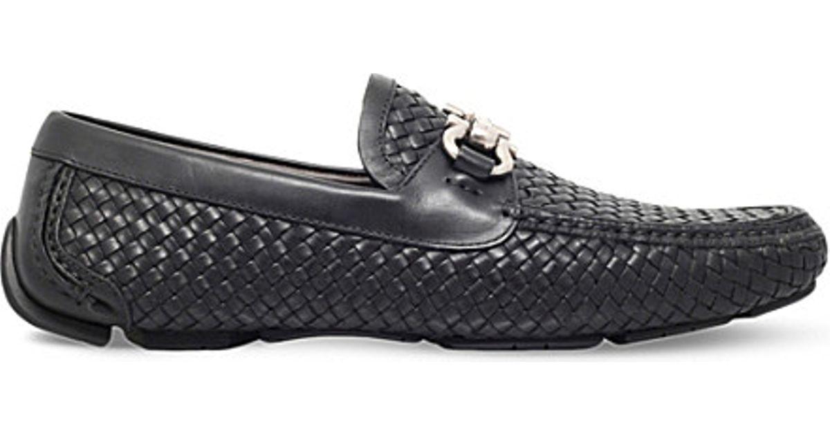 edbc8e7813fd9 Ferragamo Round Woven-leather Driving Shoes in Black for Men - Lyst