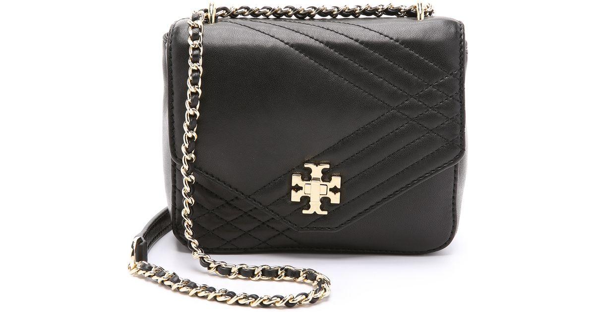 Tory Burch Mini Kira Quilted Cross Body Bag In Black Lyst