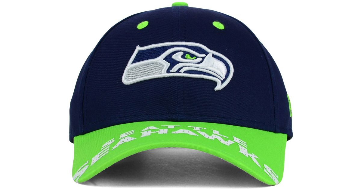 separation shoes 5d97a c8a65 ... purchase lyst ktz seattle seahawks word pin 2 tone 9forty cap in blue  for men 5a608