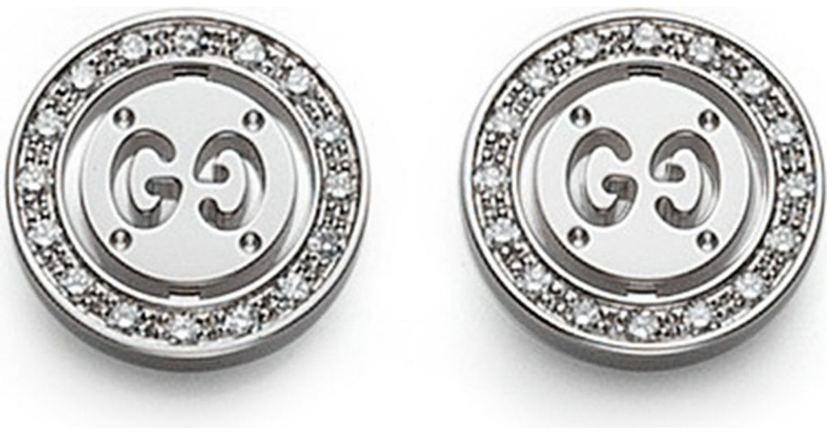 85aa680f42f Gucci Icon Twirl 18Ct White-Gold And Diamond Stud Earrings - For Women in  Metallic - Lyst