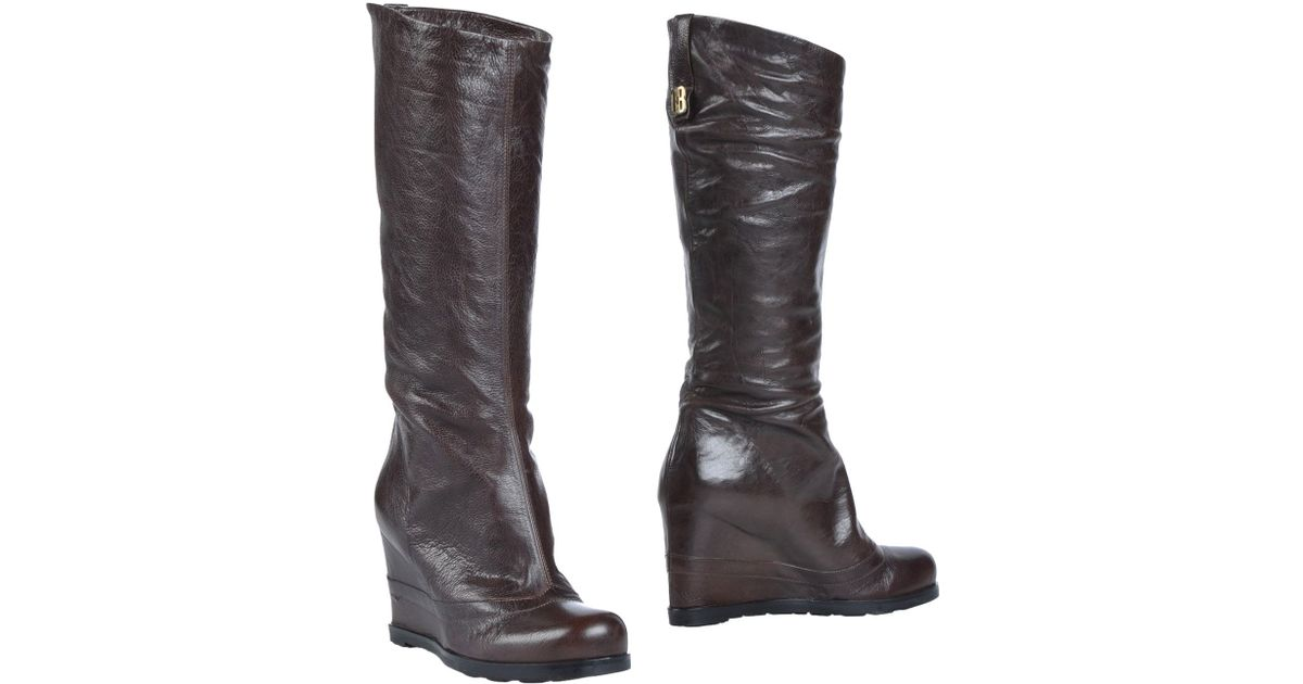 Dirk Bikkembergs Brown Textured Leather Knee High Boots