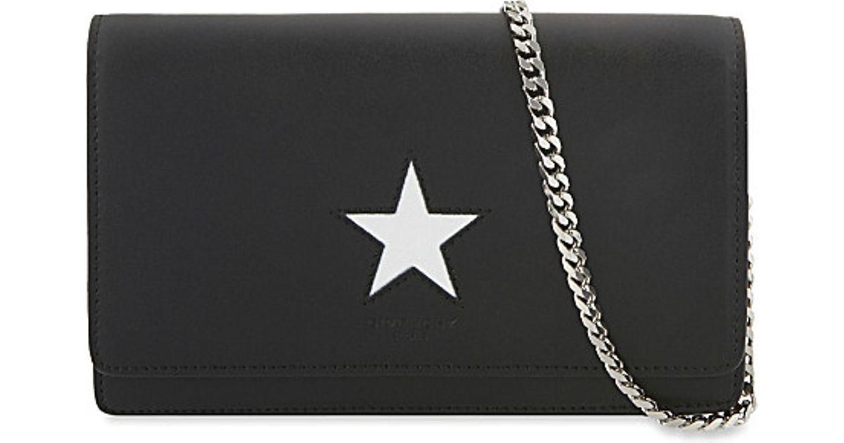 affbad8b80 Lyst - Givenchy Pandora Star Leather Shoulder Bag in Black