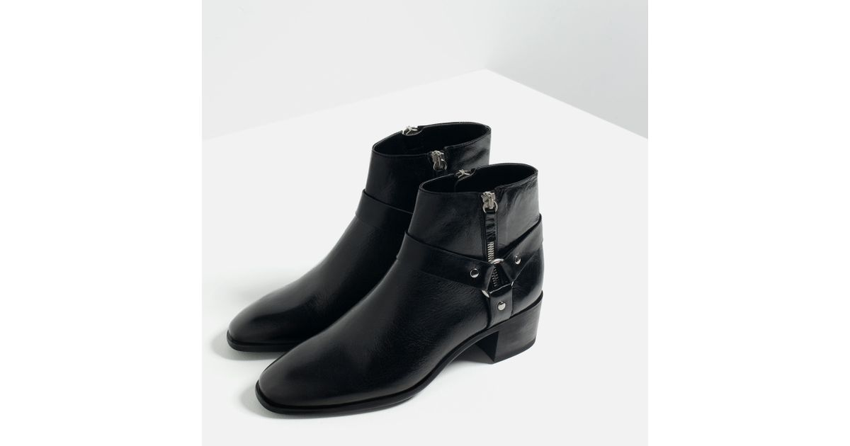 zara leather high heel ankle boots with detail in black lyst