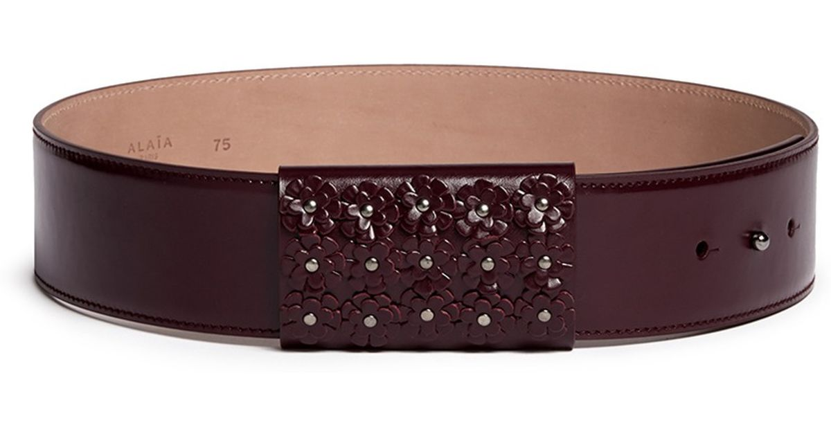 ala 239 a floral stud loop leather belt in purple lyst