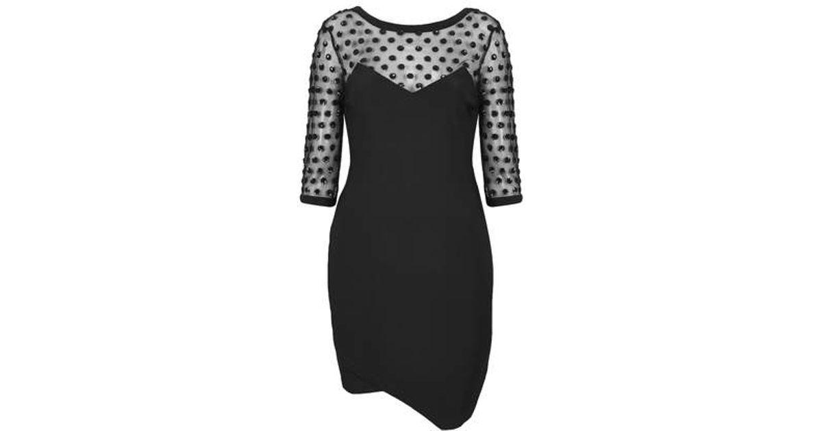 Lyst - TOPSHOP Sequin Spot Mesh Bodycon Dress in Black b0b7ee5b5