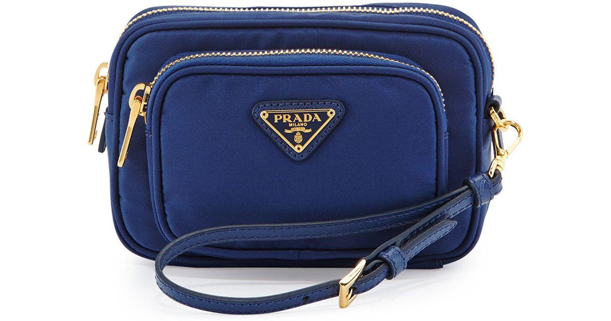 a4518a3824c Prada Blue Tessuto Small Pocket Crossbody Bag
