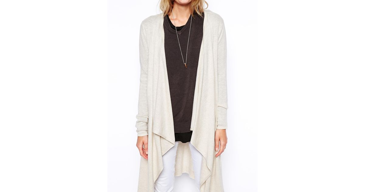 Asos Longline Waterfall Cardigan in Gray | Lyst