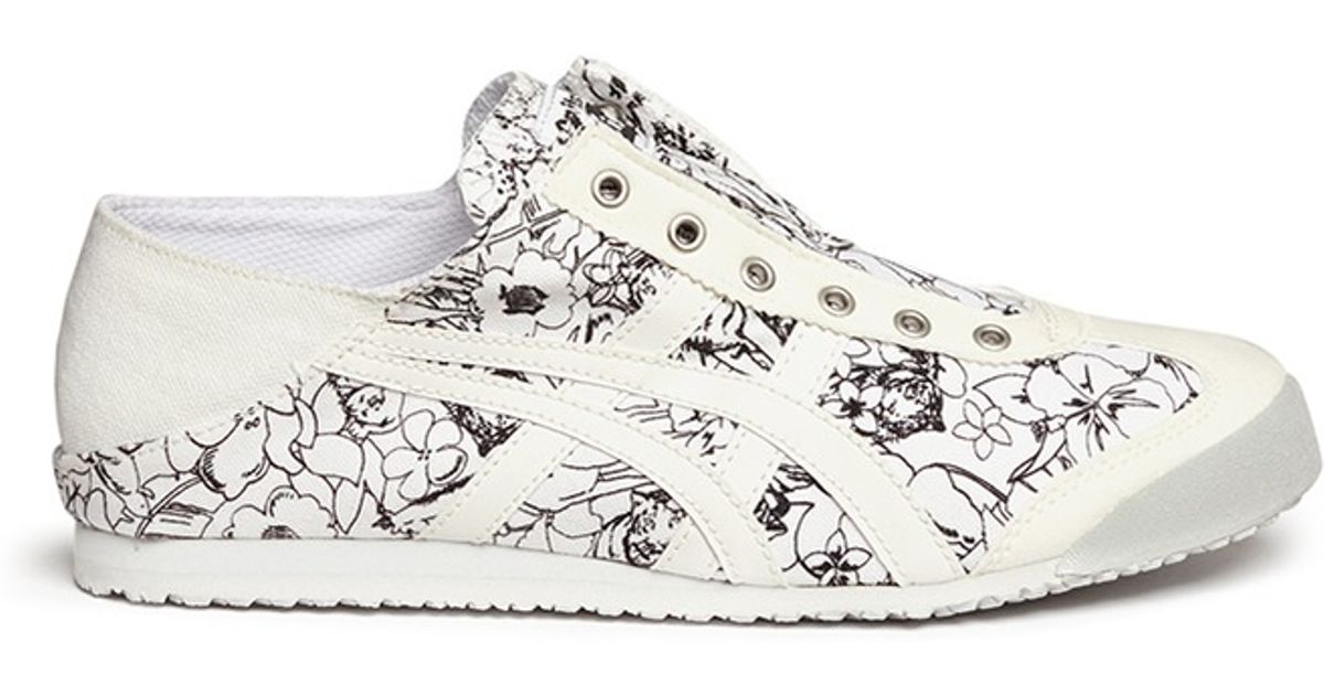 brand new b1667 d2a3b Onitsuka Tiger Natural 'Mexico 66 Paraty' Floral Print Canvas Laceless  Sneakers