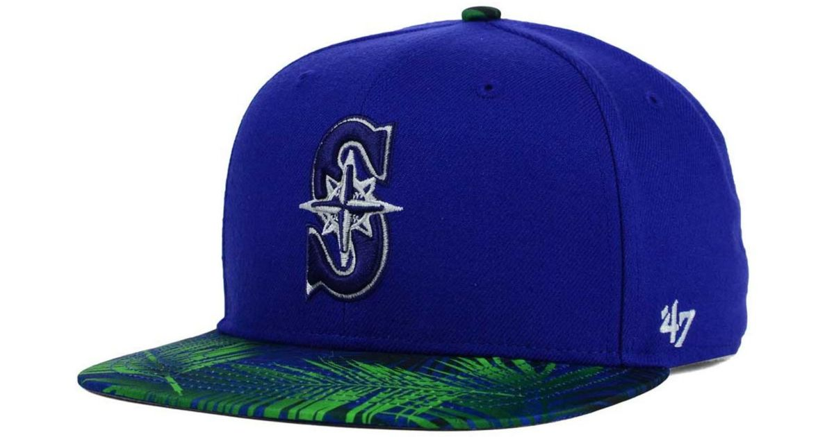 quite nice b3a3a c9a3b Lyst - 47 Brand Seattle Mariners Tonal Flagler Snapback Cap in Blue for Men