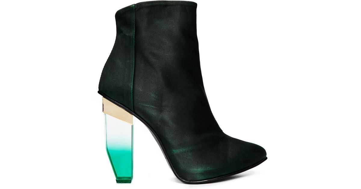 Women's Green Amaya Heeled Ankle Boots by Miista