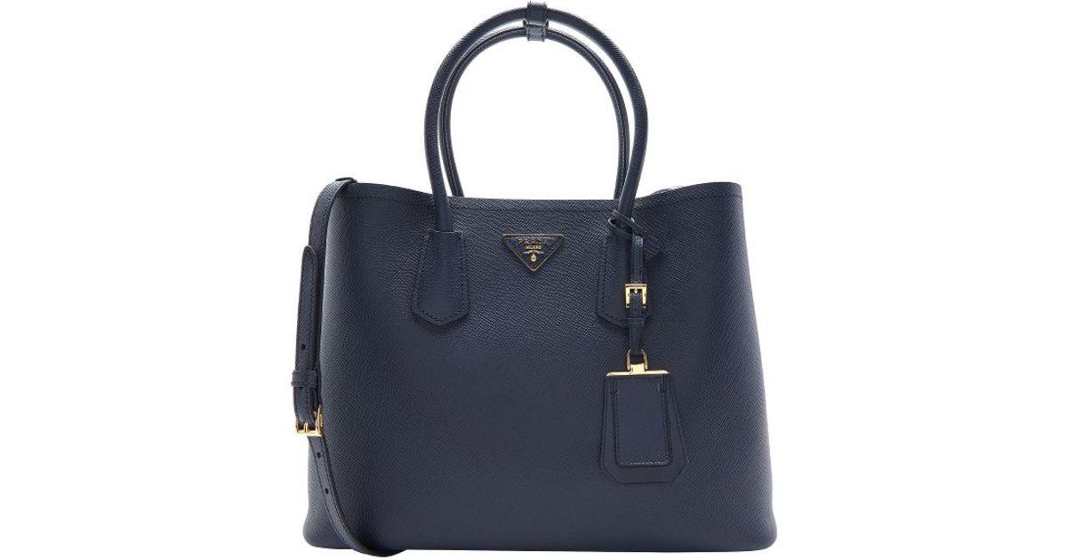 Lyst - Prada Baltic Blue Saffiano Leather Convertible Tote in Blue e88f4194aa6bb