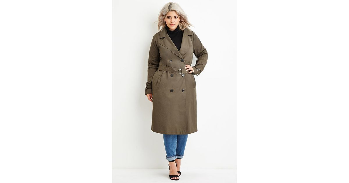 bc5c688e27b Forever 21 Plus Size Double-breasted Trench Coat in Green - Lyst
