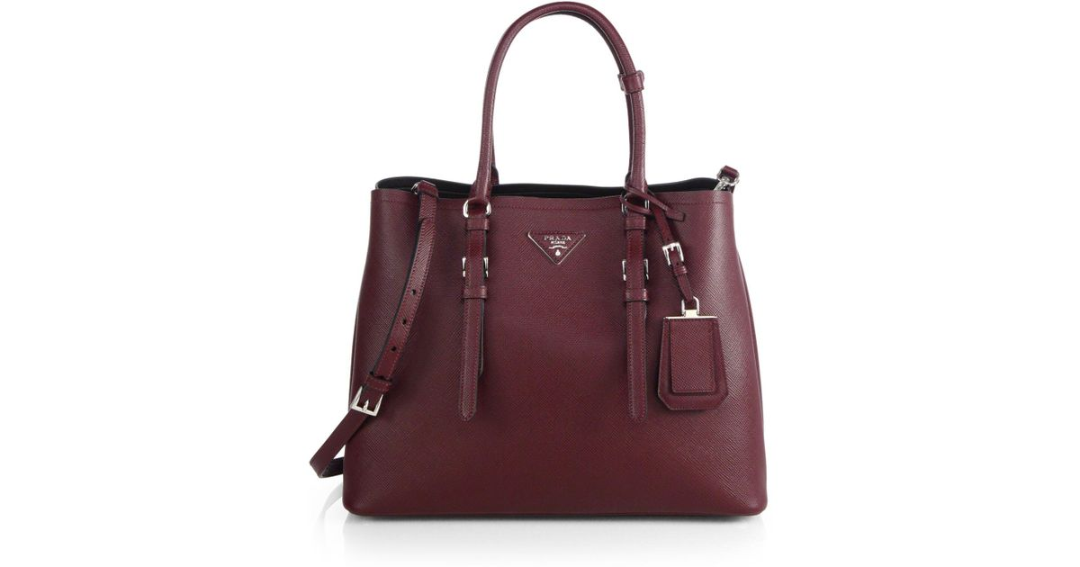 6295e4d6801e55 Prada Saffiano Cuir Medium Double Bag in Red - Lyst