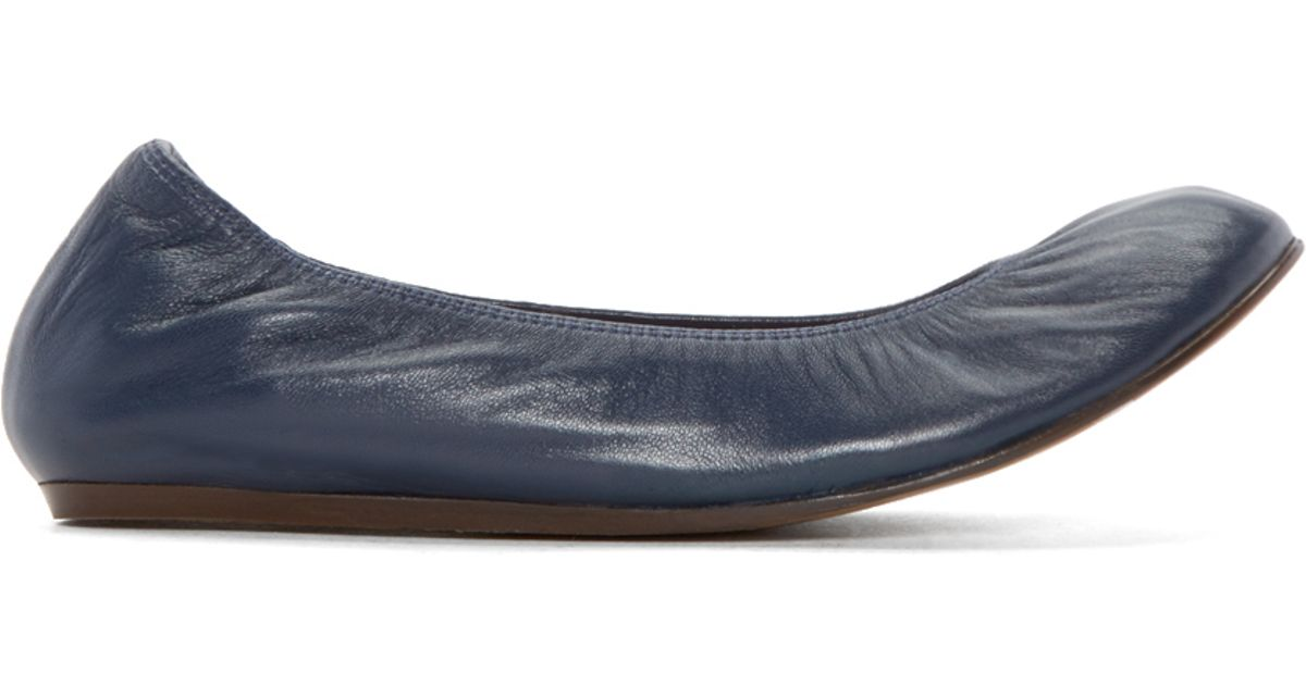 1ab6459e9bad Lyst - Lanvin Navy Leather Ballerina Flats in Blue