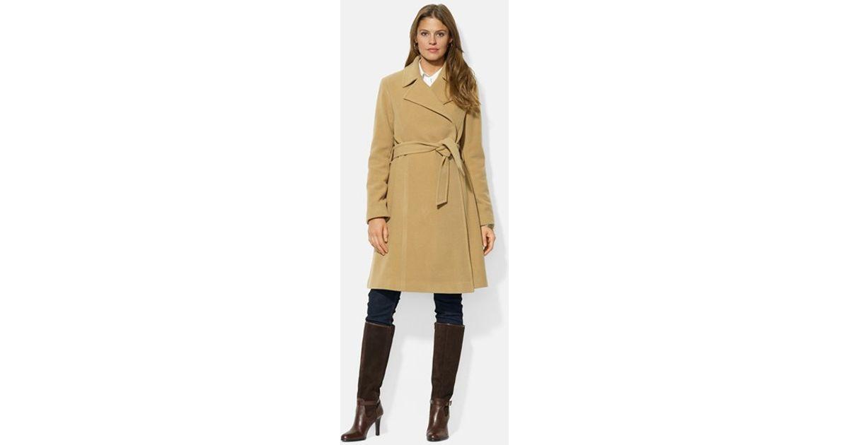 480b3ff9453bd Lyst - Lauren By Ralph Lauren Wool Blend Wrap Coat in Natural