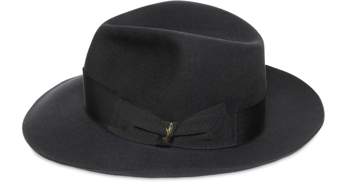 50ecb8cacea Borsalino Lapin Fur Felt Alessandria Brim Hat in Black - Lyst