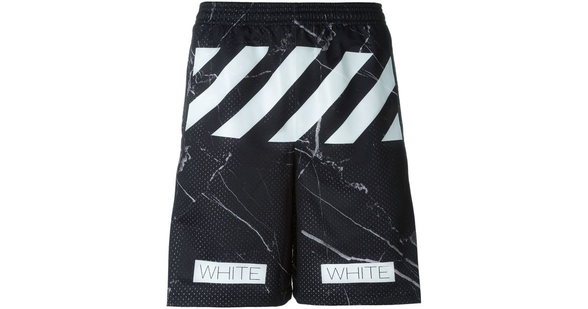 04115791f11a Lyst - Off-White c o Virgil Abloh Marble Print Track Shorts in Black for Men