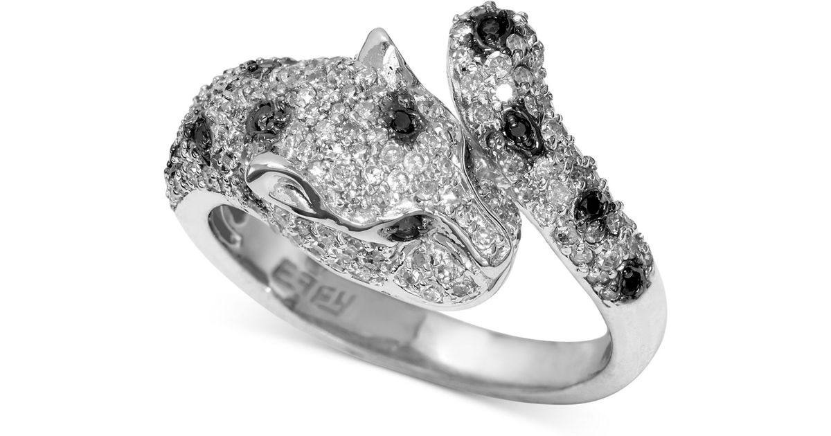 6e88a32bcc462 Effy Collection Metallic Effy Signature White And Black Diamond (7/8 Ct.  T.w.) And Emerald Accent Panther Ring In 14k White Gold