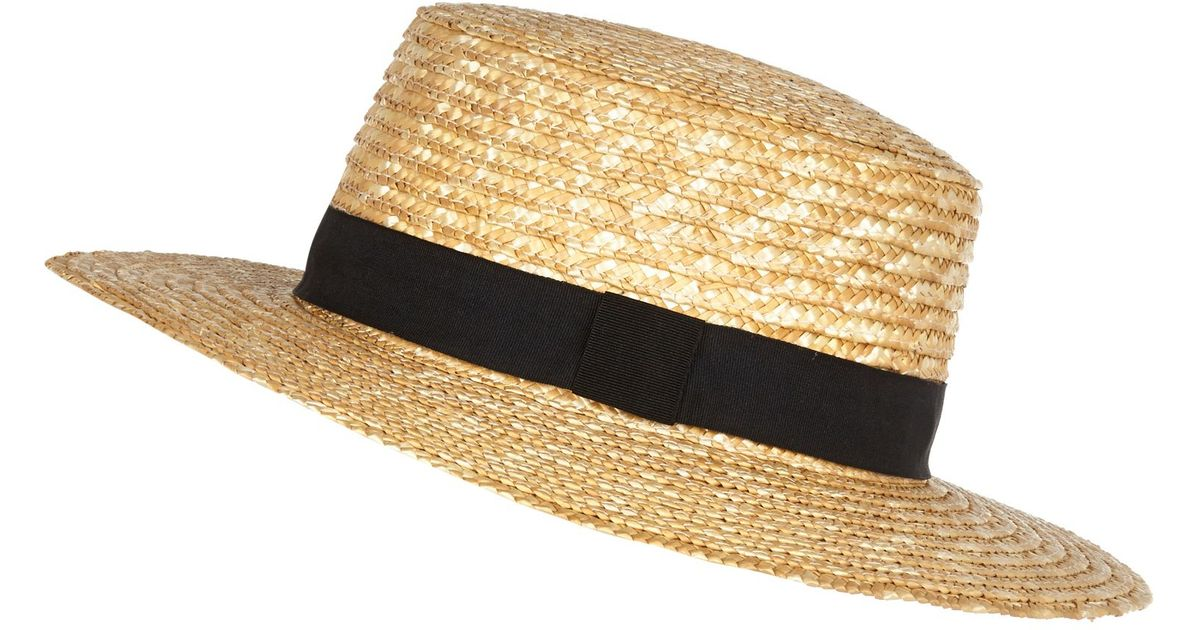 af5ffaab0fa River Island Cream Oversized Straw Boater Hat in Natural - Lyst