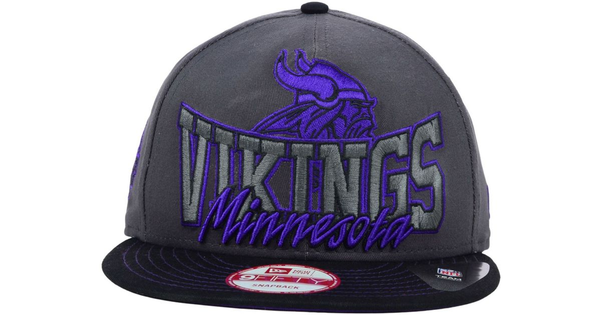 fea7cb460 KTZ Black Minnesota Vikings Graphite Out And Up 9Fifty Snapback Cap for men