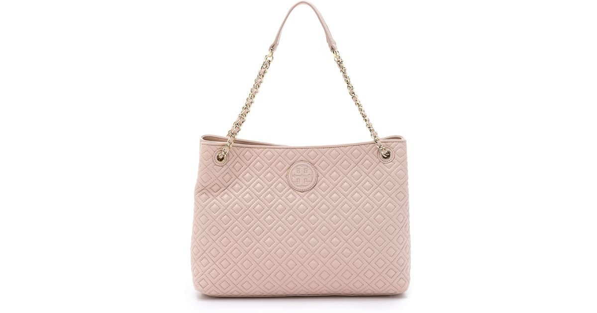 Tory burch Marion Quilted Tote - Light Oak in Natural | Lyst : tory burch quilted tote - Adamdwight.com