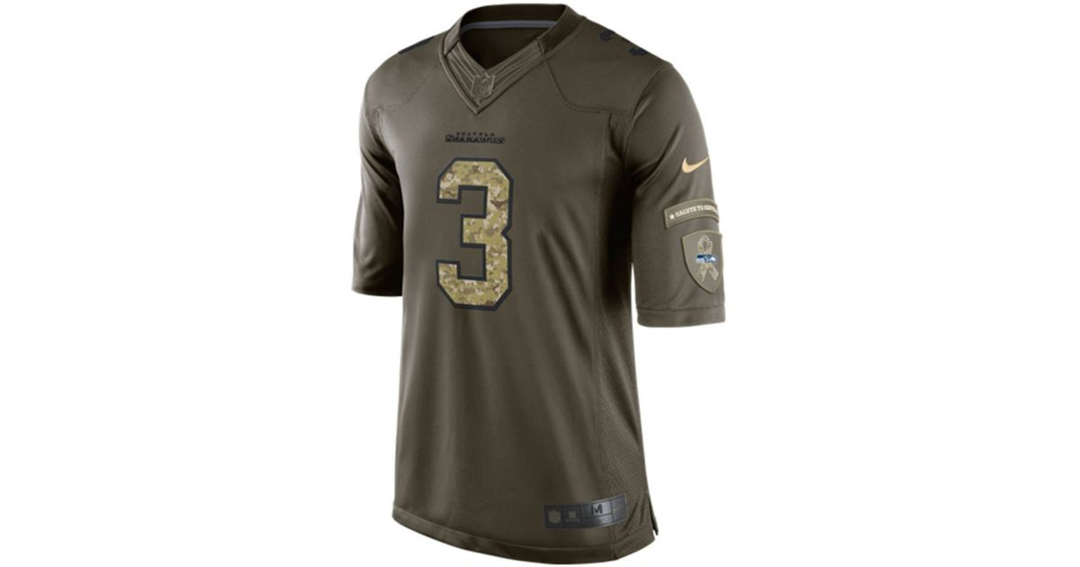 purchase cheap 39431 07aac Nike Green Men's Russell Wilson Seattle Seahawks Salute To Service Jersey  for men