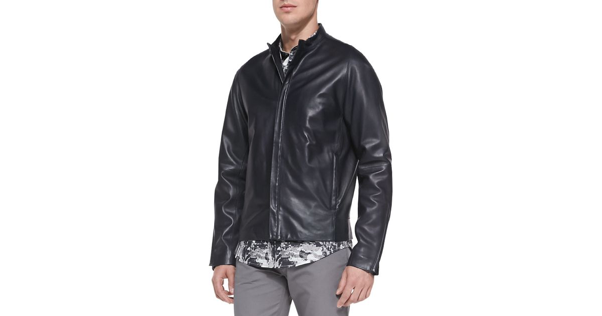be94cc2840 Theory Russo Leather Jacket in Blue for Men - Lyst