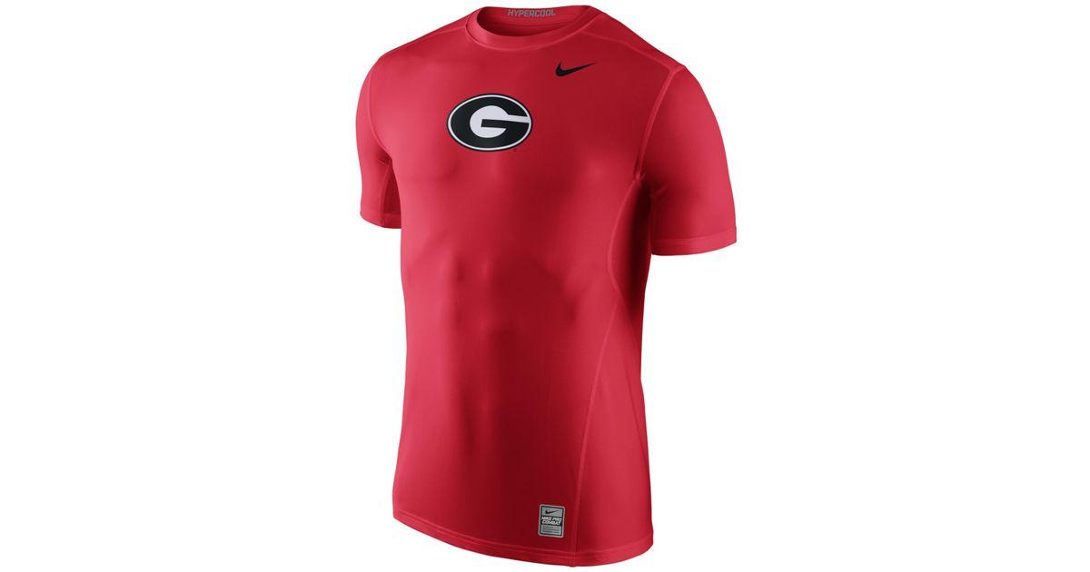 Nike Men 39 S Georgia Bulldogs Hypercool T Shirt In Red For