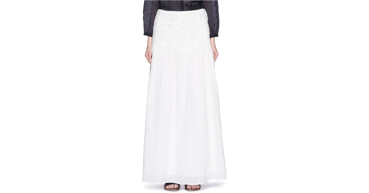 add3c67d See By Chloé White Floral Lace Cotton Voile Maxi Skirt