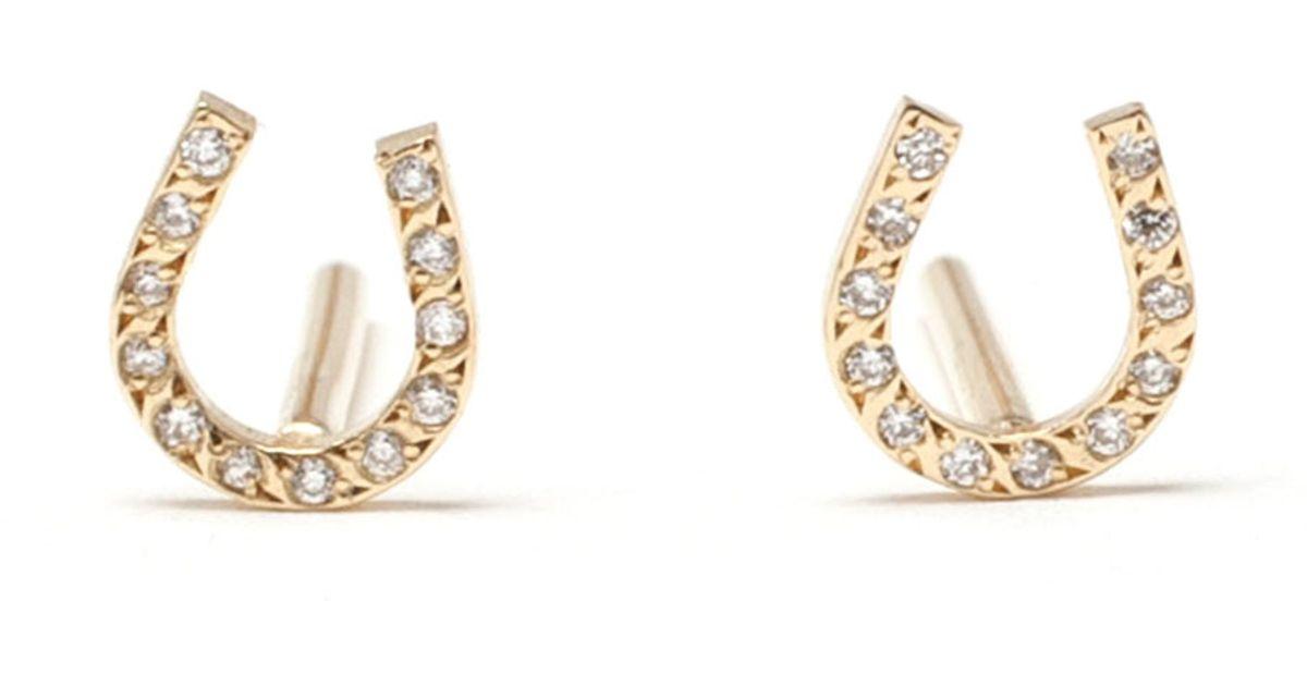 Lyst Ileana Makri 18k Yellow Gold And Diamond Horseshoe Studs In Metallic