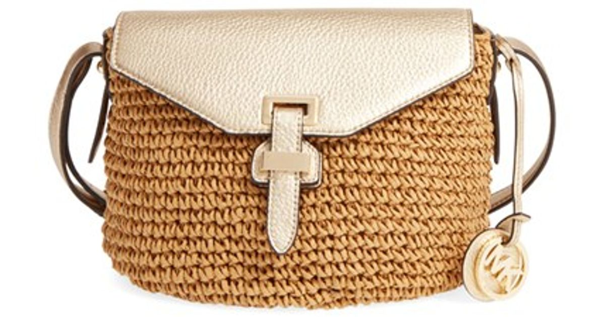 Michael Kors Brown Medium Naomi Straw Cross Body Bag