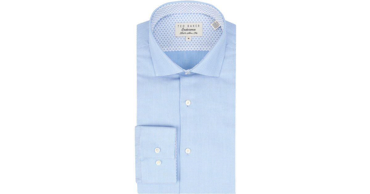 50e0ab00eedb0 Ted Baker Endurance Slick Rick Micro Dot Shirt in Blue for Men - Lyst