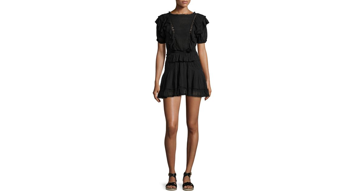 b02225ea4b0 Étoile Isabel Marant Naoko Smocked Ruffle Cotton Dress in Black - Lyst
