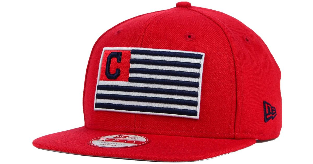 on sale 4ab74 6fb89 ... spain lyst ktz cleveland indians team merica 9fifty snapback cap in red  for men 85763 46c2d
